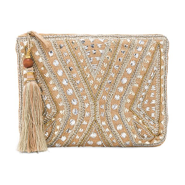 """Star Mela Mukti Embroidered Clutch in beige - """"Woven jute exterior with cotton fabric lining. Zip top..."""