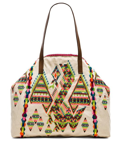 STAR MELA Zuri embroidered bag in beige - Embroidered fabric exterior with cotton fabric lining....