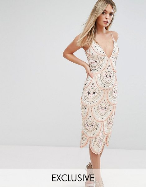 "Starlet Cami Strap Midi Dress with All Over Embellishment in pink - """"Midi dress by Starlet, Smooth stretch fabric, Plunge..."