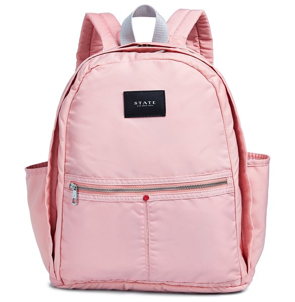STATE kent backpack in coral/almond - Fabric: Coated canvas Zip at top Zip exterior pocket...