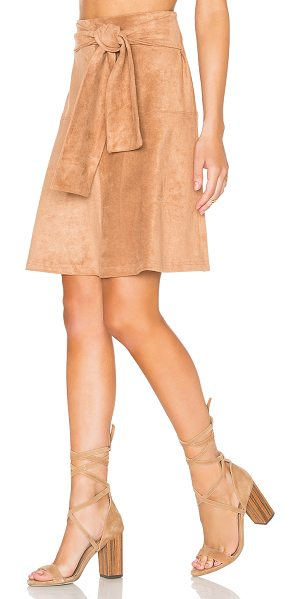 STATE OF BEING Eliza Skirt - Poly blend. Dry clean only. Faux suede. Front tie...