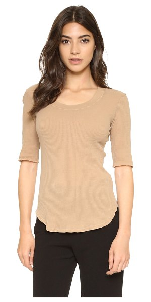 Stateside 2x1 slub rib tee in khaki - A formfitting Stateside tee with a banded neckline....