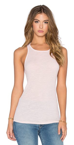 Stateside Racerback tank top in blush - 50% poly 38% cotton 12% rayon. Rib knit fabric....