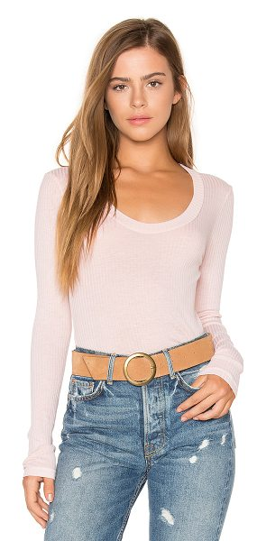 Stateside Scoop Neck Rib Tee in peach - 50% modal 50% supima. Rib knit fabric. STAT-WS321. 221...