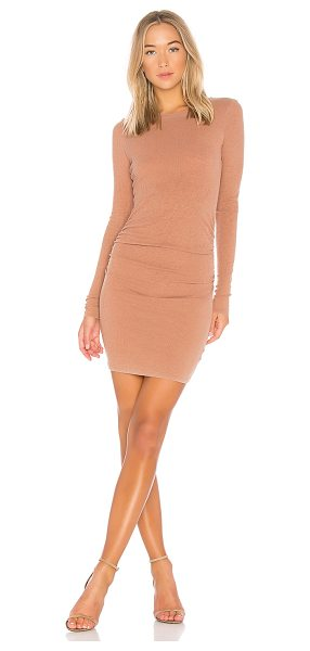 Stateside Slub 2X1 Rib Dress in tan - 100% supima cotton. Unlined. Rib knit fabric. Ruching...