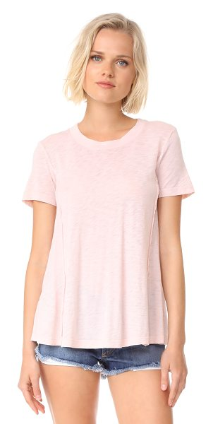 STATESIDE supima slub crew neck tee in peach - A super-soft Stateside tee with curved, raised seams for...