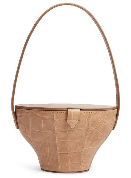 STAUD alice croc embossed leather bucket bag in brown - Sophisticated croc embossing beautifully accentuates the...
