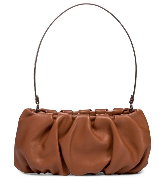 STAUD bean ruched leather shoulder bag in tan