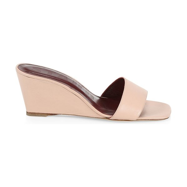 STAUD billie leather wedge mules in blush