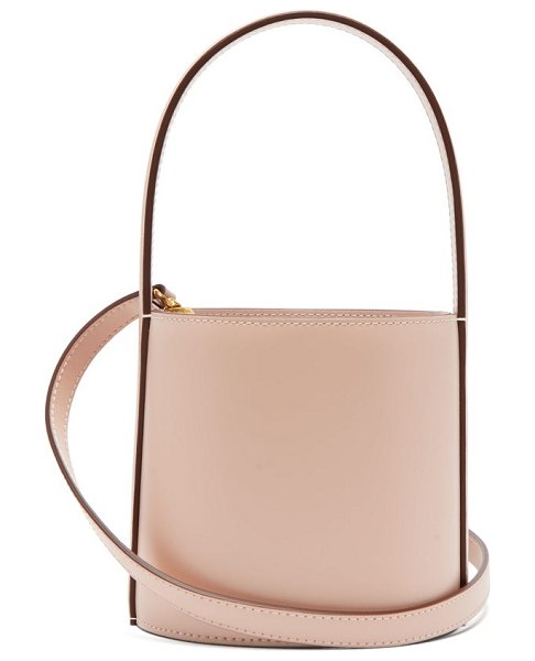 STAUD bissett leather bucket bag in light pink