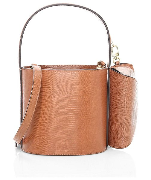 STAUD bissett lizard-embossed leather bucket bag in tan