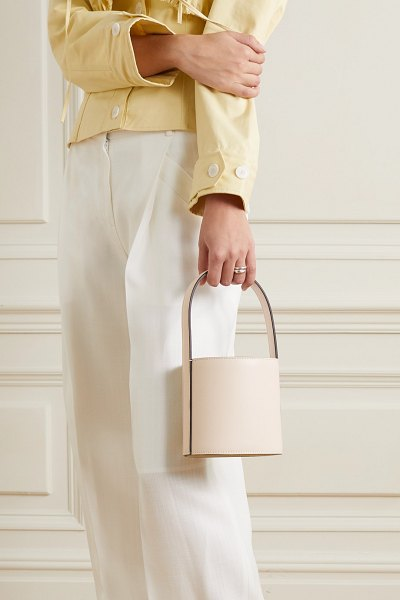STAUD bissett mini leather bucket bag in cream