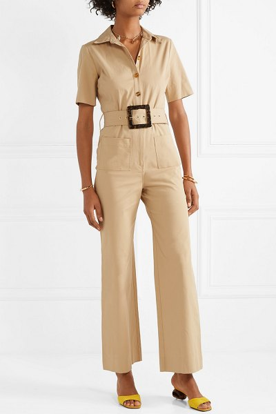 STAUD davey belted cotton-blend gabardine jumpsuit in beige