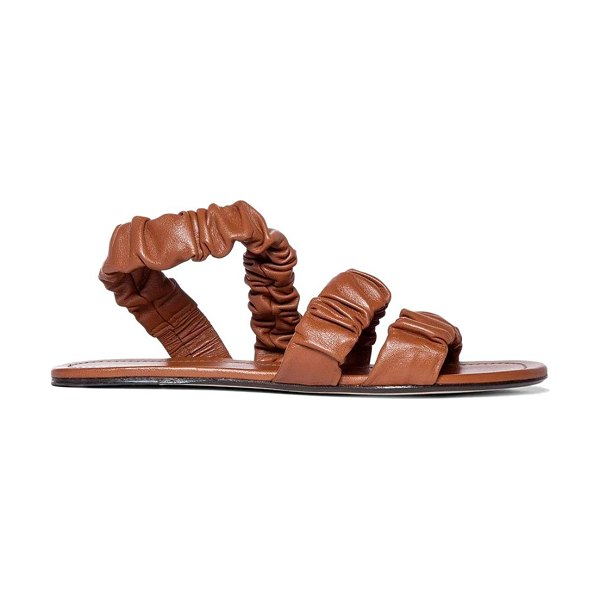 STAUD ellie ruched leather slingback sandals in tan