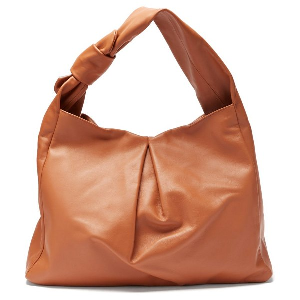 STAUD island large knotted leather tote bag in tan