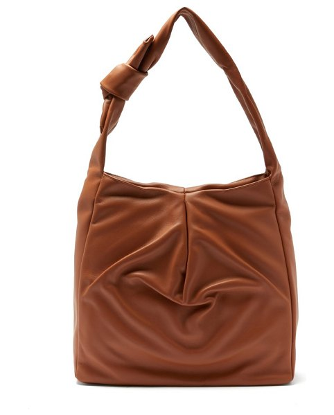 STAUD island small knotted leather tote bag in tan