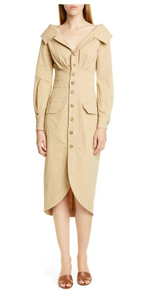 STAUD jack long sleeve midi shirtdress in beige