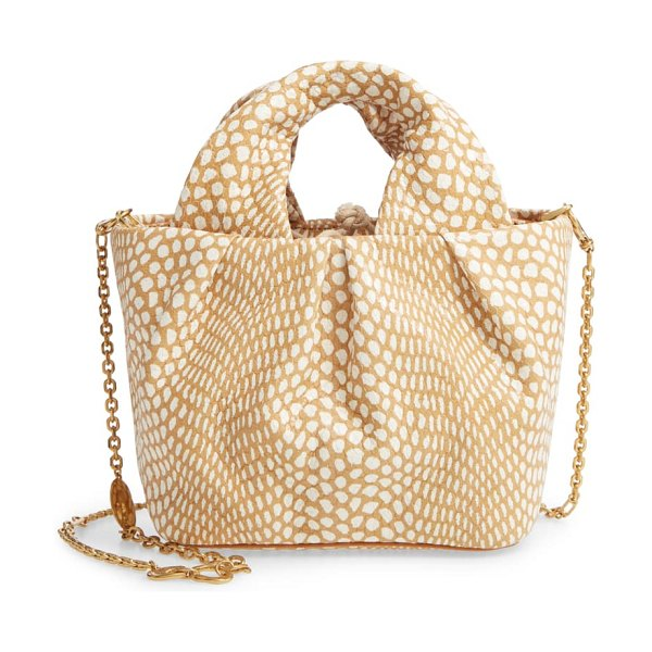 STAUD lera snake embossed leather top handle bag in beige