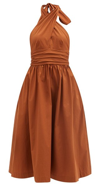 STAUD moana keyhole halter-neck cotton-blend dress in light brown