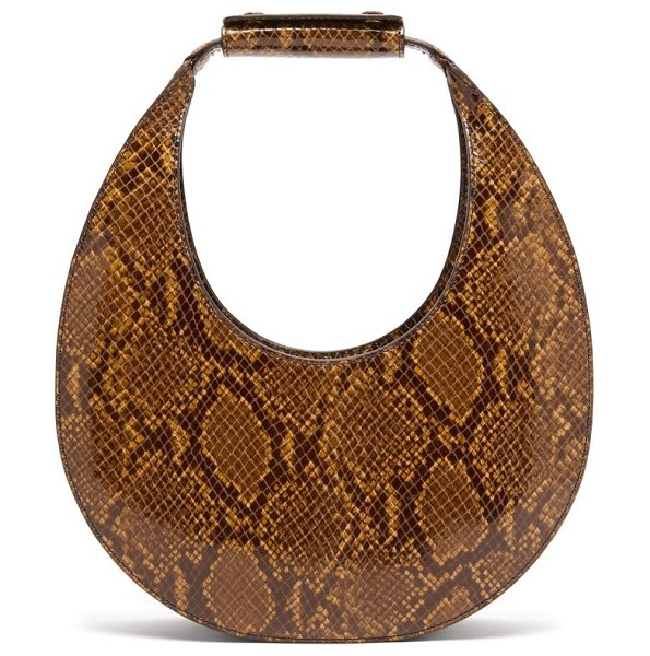 STAUD moon python embossed leather bag in python