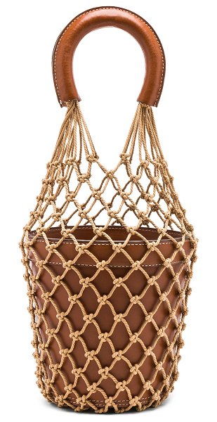 "STAUD Moreau Bag in brown - ""Cotton netting covered calfskin leather with suede..."