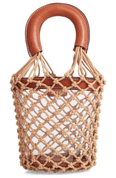 STAUD moreau caged clear bucket bag in brown - Macrame netting inspired by classic market bags encloses...