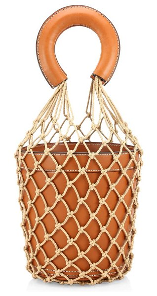 STAUD moreau leather bucket bag in brown