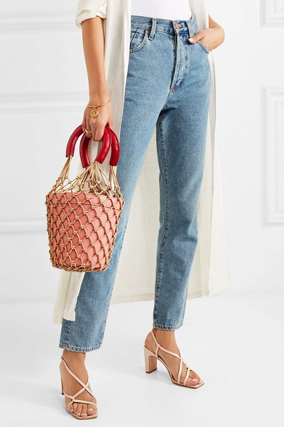 STAUD moreau macramé and leather bucket bag in pink - While some It bags come and go in a flash, STAUD's...