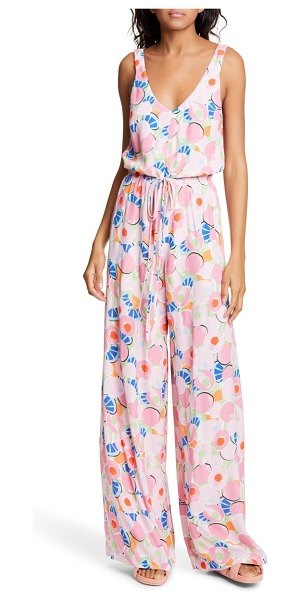 STAUD print sleeveless wide leg jumpsuit in pink