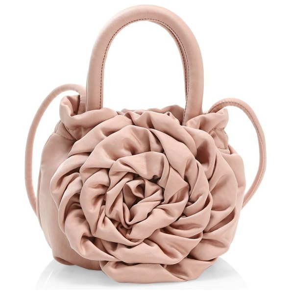 STAUD rose satin top handle bag in blush
