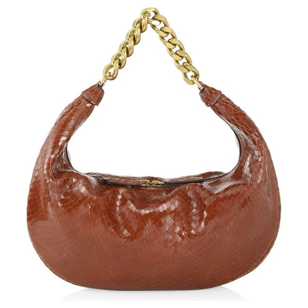 STAUD sasha snakeskin-embossed leather shoulder bag in tawny