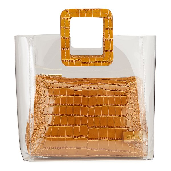 STAUD Shirley Clear PVC and Crocodile-Embossed Tote Bag in brown
