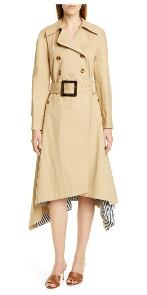 STAUD tati long sleeve midi trench dress in beige - Exaggerated details like an oversized belt buckle and...