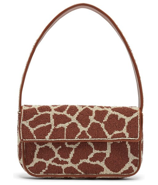 STAUD tommy giraffe-print beaded shoulder bag in brown multi