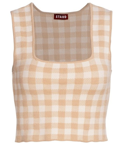 STAUD trial gingham cropped top in nude