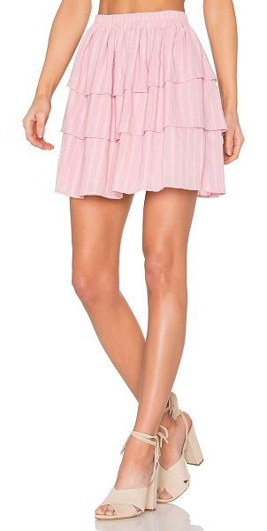 "Steele Moonlight Frill Skirt in pink - ""100% cotton. Fully lined. Elasticized waist. Tiered..."