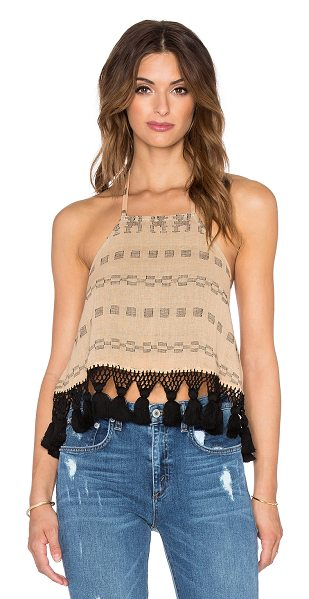 STELA 9 Victoria halter top in tan - 100% cotton. Dry clean only. Neck tie closure. STE9-WS8....