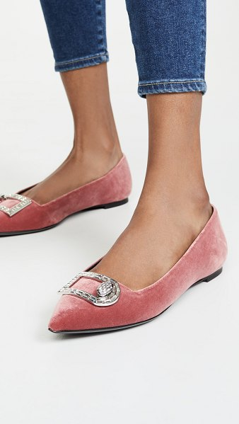 STELLA LUNA strass flats in rouge powder