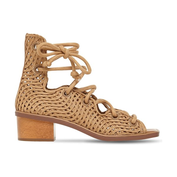 Stella McCartney 40mm woven faux leather lace-up sandals in camel