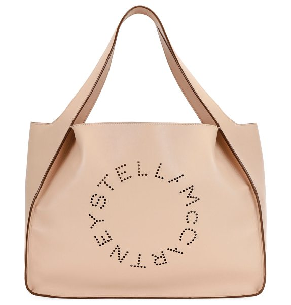 Stella McCartney Alter East-West Perforated Tote Bag in beige - Stella McCartney faux-leather...