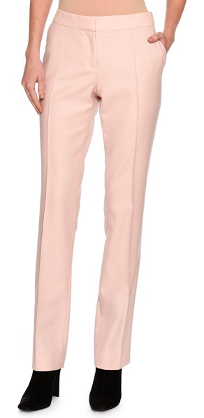 "Stella McCartney Anna Raised-Seam Straight-Leg Trousers in rose - Stella McCartney ""Anna"" wool suiting trousers. Side slip..."