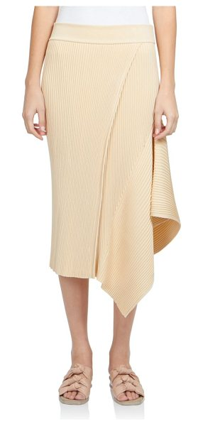 Stella McCartney Asymmetrical rib-knit skirt in butter - A streamlined design with sleek ribbed construction,...
