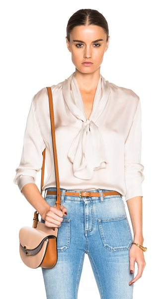 STELLA MCCARTNEY August Top in neutrals - 100% silk.  Made in Hungary.  Neck tie accent.  Pleat...