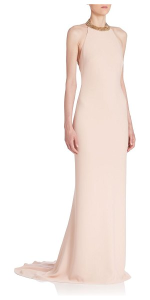 Stella McCartney backless chain gown in rose - Floor-sweeping gown flaunts backless silhouette and...