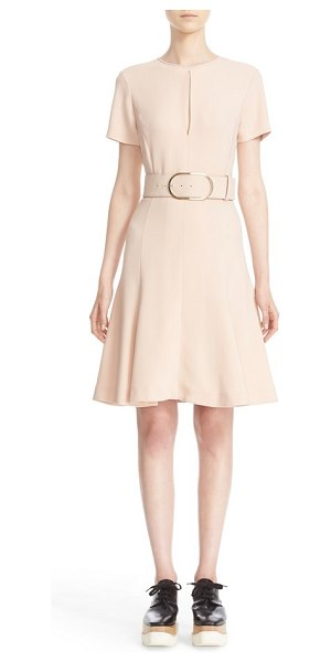 Stella McCartney belted stretch cady dress in rose - A pale rose hue and dainty keyhole cutout further the...