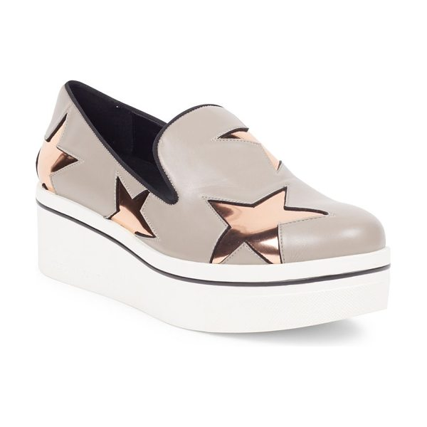 STELLA MCCARTNEY binx metallic star platform loafers - Sleek platform loafter with metallic star motif. Rubber...
