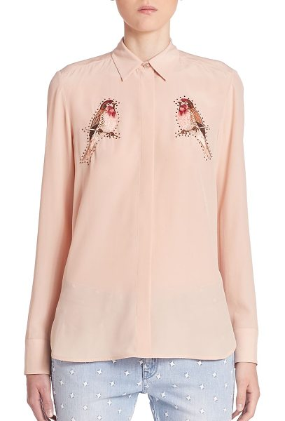 Stella McCartney bird embroidered silk crepe blouse in rose ash - Silk crepe blouse flaunts playful bird embroidery. Point...