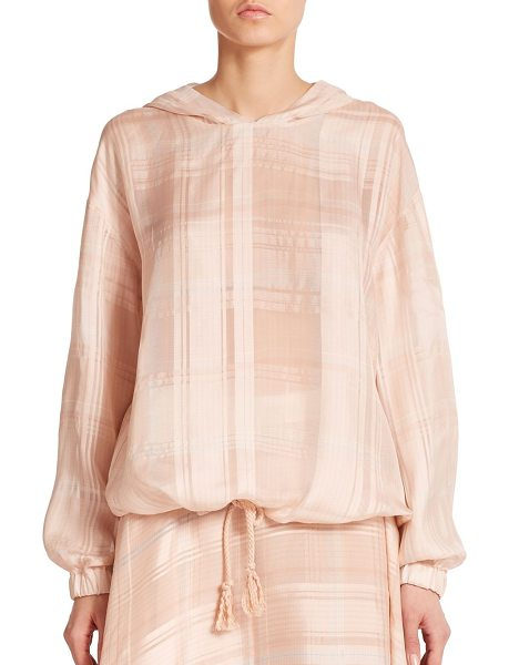 Stella McCartney Check-print silk anorak in powdermulti - Airy check-print silk transforms this utilitarian anorak...