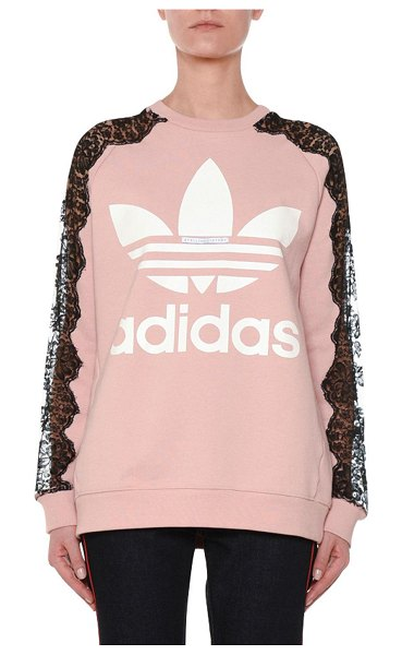 Stella McCartney Crewneck Long-Sleeve Pullover Sweatshirt with Lace Inset in pink - Stella McCartney sweatshirt with signature Adidas...