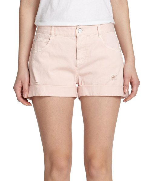 STELLA MCCARTNEY Distressed denim shorts in lightpink - This laidback classic cast in a pale pink wash is...